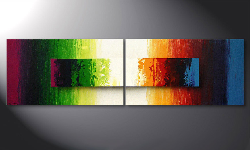 Battle of Colours 200x60x2cm dipinto moderno