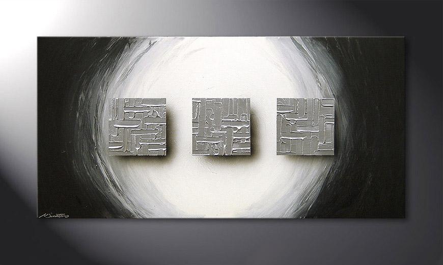 Cubes of Silver 120x60x2cm quadro