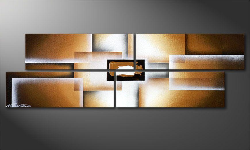 Dipinto moderno Earth Construction 130x40x2cm