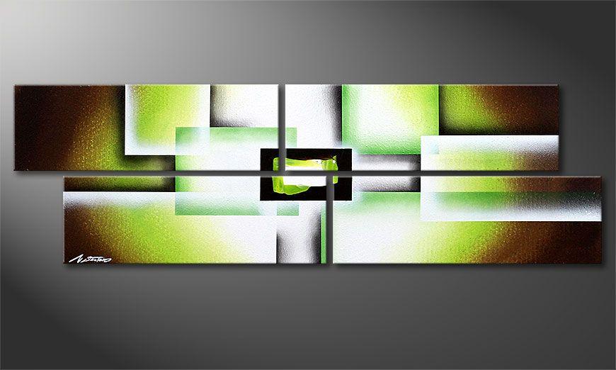 Dipinto moderno Green Spirit 130x40x2cm