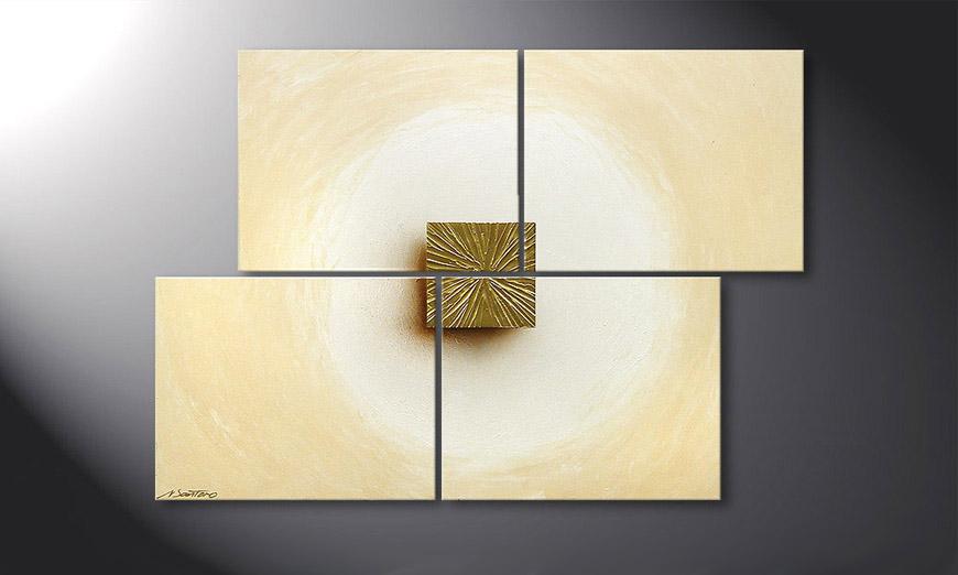 Golden Cube 115x80x2cm quadro
