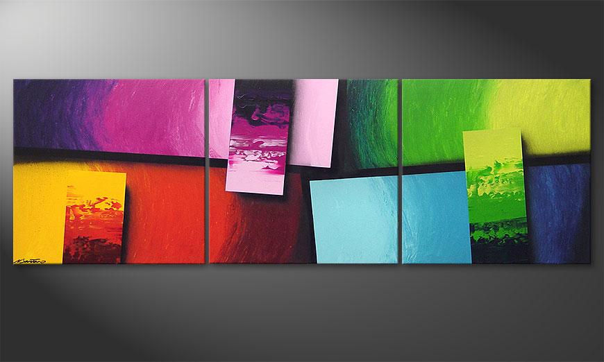 Squaring of Colors 210x70x2cm quadro da soggiorno
