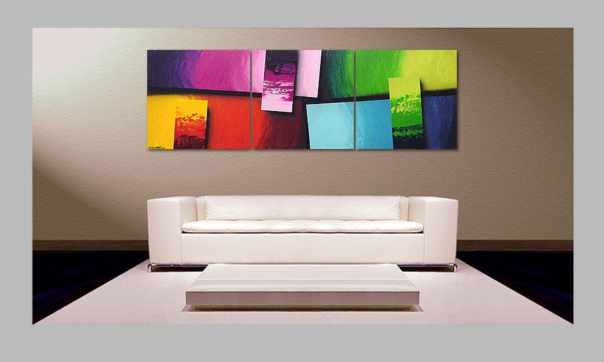 Squaring of Colors 210x70cm quadro da soggiorno - Quadri XXL