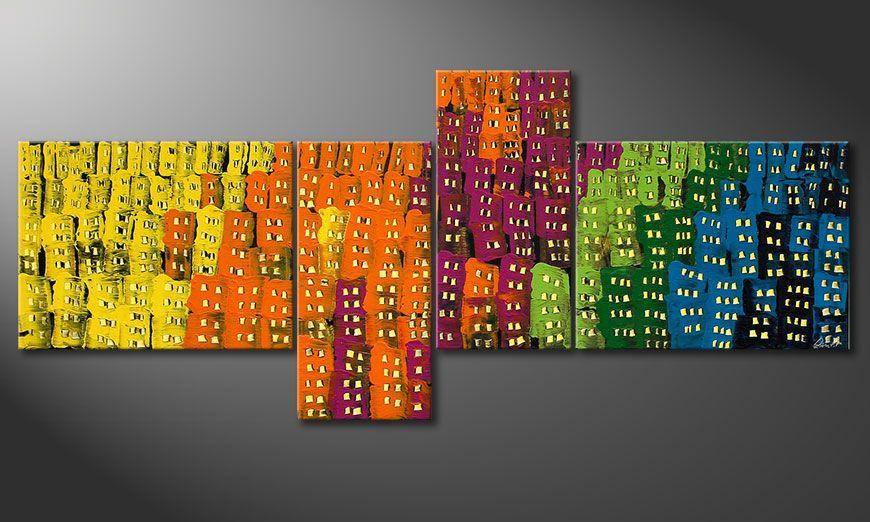Dipinto moderno Crazy Town 240x100x2cm