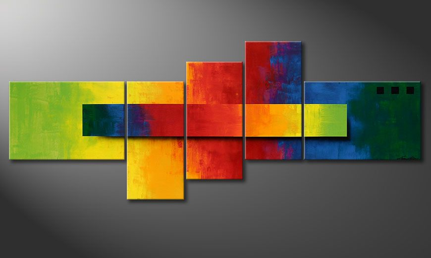 Quadro moderno Facets of a Rainbow 160x60x2cm