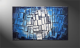 Arte moderna 'Blue Windows' 100x60cm