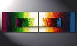 'Battle of Colours' 200x60cm dipinto moderno