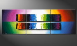 Dipinto moderno 'Expression of Colours' 150x50cm