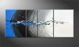 La bella pittura 'Blue Light Splash' 170x70cm
