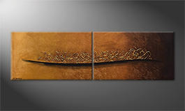 Quadro 'Golden Memories' 200x60cm