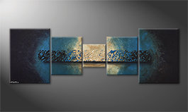 Quadro moderno 'Deep Blue Light' 210x70cm