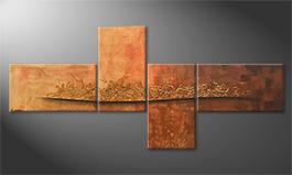 Quadro moderno 'Golden Flow' 220x100cm