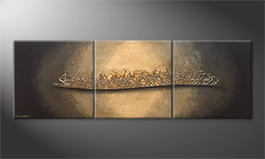 Quadro moderno 'Golden Night' 210x70cm