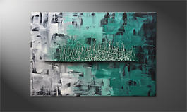 Quadro moderno 'Green Impulse' 120x80cm