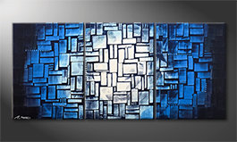 Quadro moderno 'Moon Blues' 150x70cm
