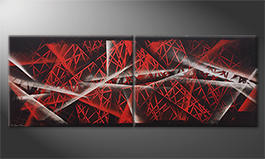 Quadro moderno 'Red Night' 160x60cm