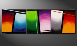 Quadro su tela 'Wave of Colors' 240x80cm