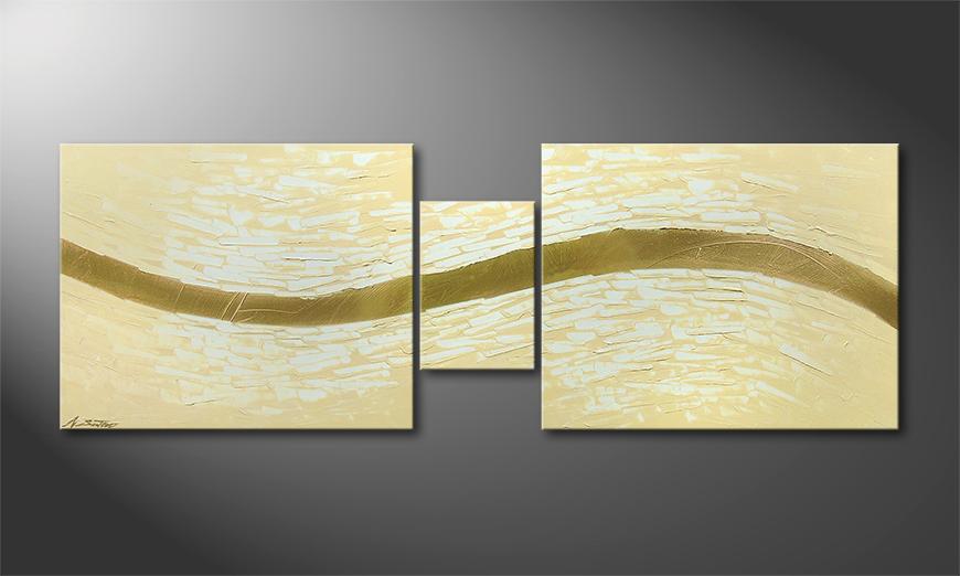 Golden Stream 140x50x2cm quadro