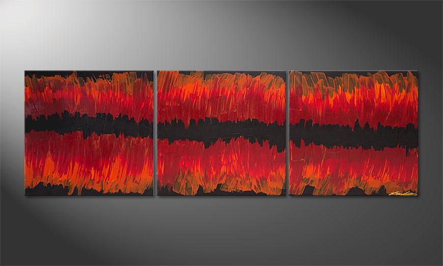 Split Red 180x60x2cm quadro