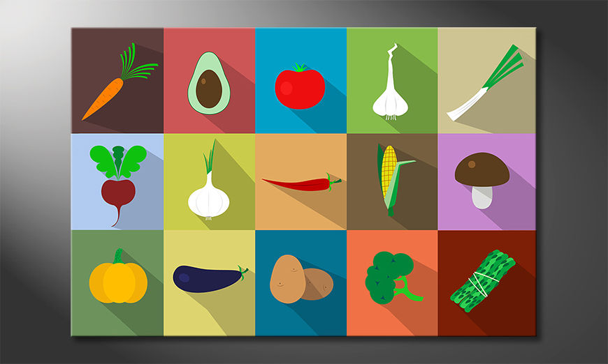 La bella stampa d'arte Funny Vegetables