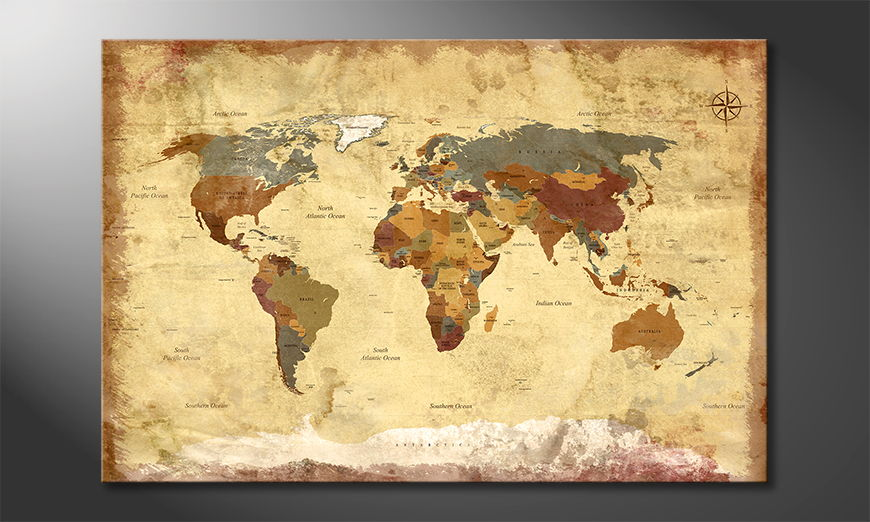 Old Worldmap 4 quadro