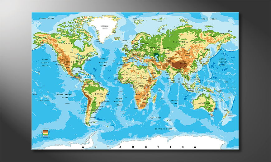 Physical Worldmap quadro