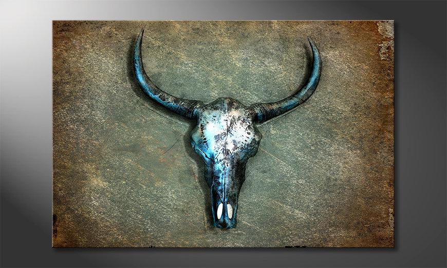 Stampa su tela Buffalo Skull