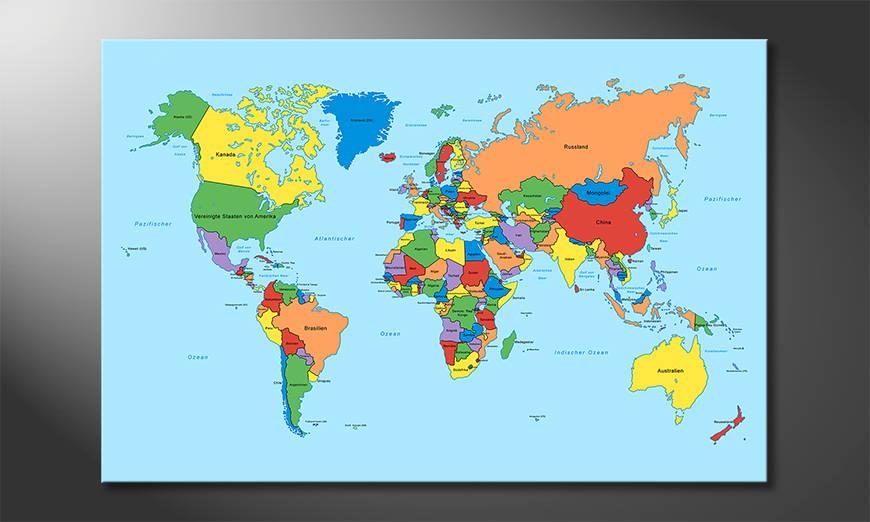Worldmap Classic quadro