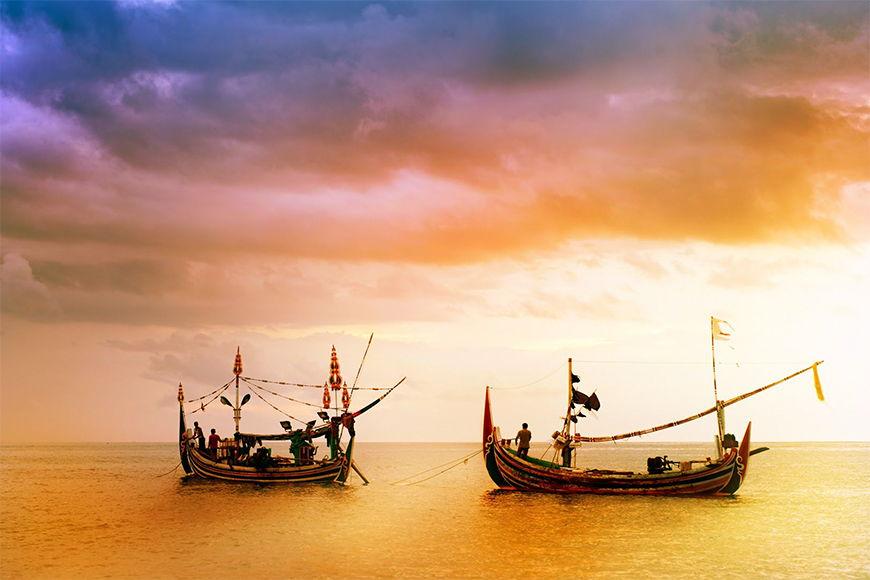 Carta da parati Barca da pesca in 6 dimensioni