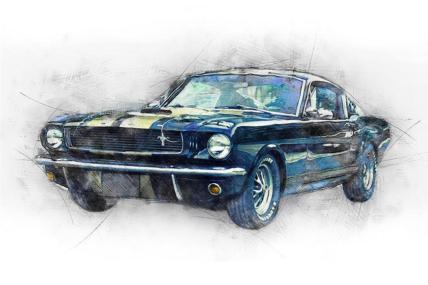 Carta da parati con foto Black Mustang