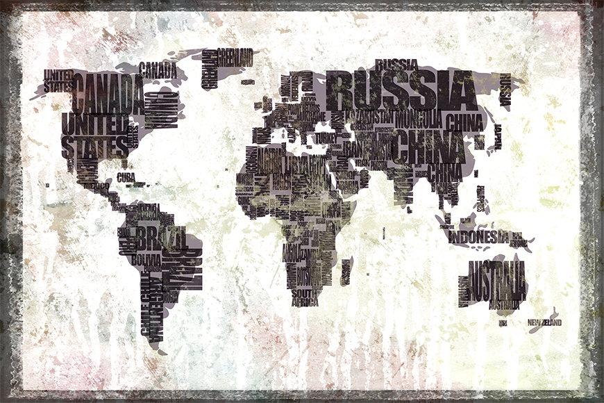Carta da parati con foto Carta del mondo 17 da 120x80cm