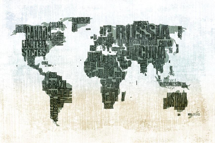 Carta da parati con foto Carta del mondo da S a XXL