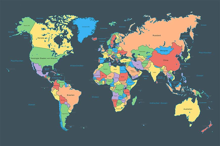 Carta da parati con foto Colorful Map da 120x80cm