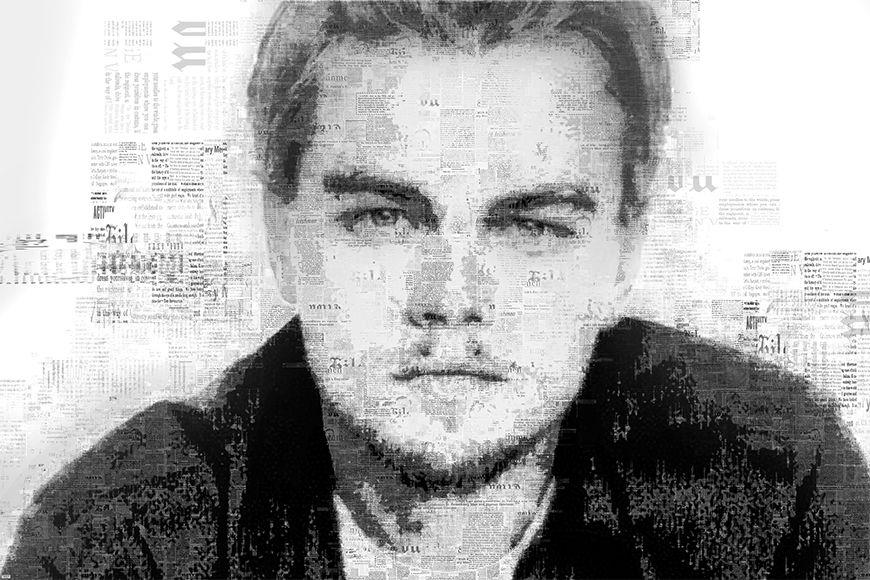 Carta da parati con foto DiCaprio da 120x80cm