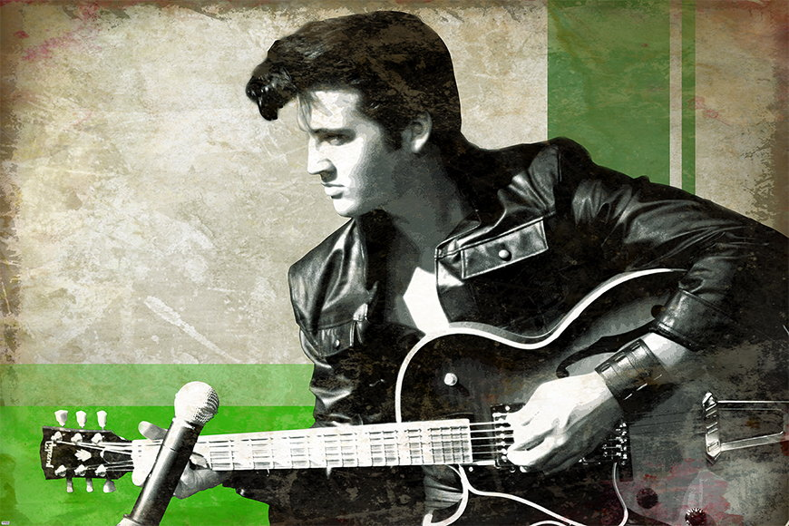 Carta da parati con foto Elvis da 120x80cm