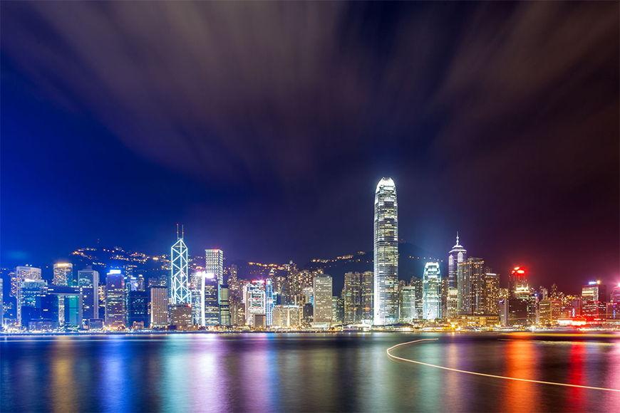 Carta da parati con foto Hongkong at Night in 6 dimensioni