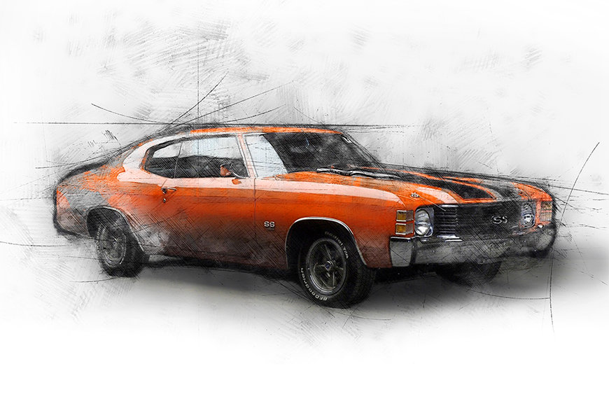Carta da parati con foto Muscle Car