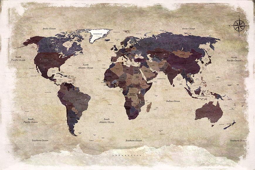 Carta da parati con foto Old Worldmap 3 da 120x80cm