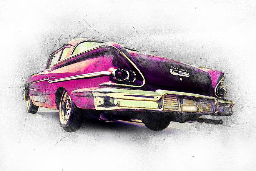 Carta da parati con foto Pink Chevrolet