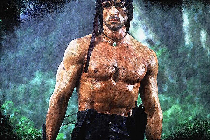 Carta da parati con foto Rambo da S a XXL