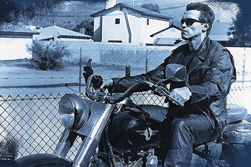 Carta da parati con foto Terminator da 120x80cm