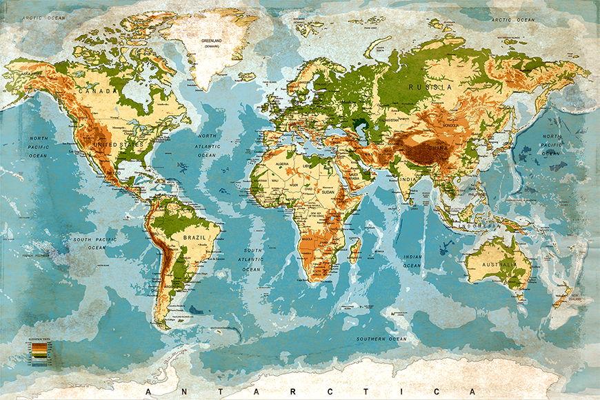 Carta del mondo Mappa del Mondo da S a XXL