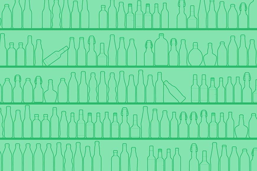 La carta da parati TNT Green Bottles da S a XXL