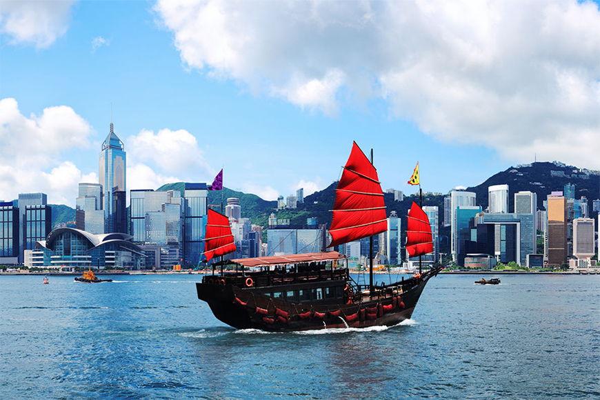La carta da parati TNT Hongkong Boat da 120x80cm
