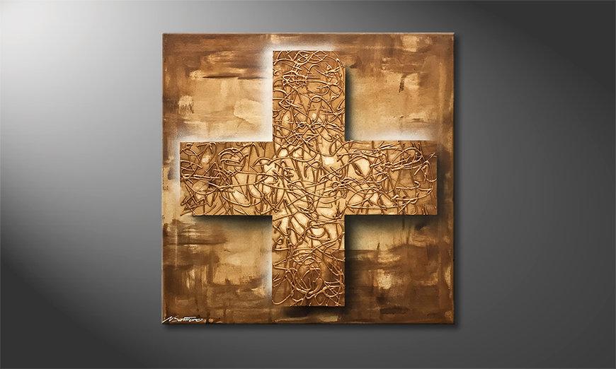 Quadro da soggiorno golden cross 80x80cm quadri xxl