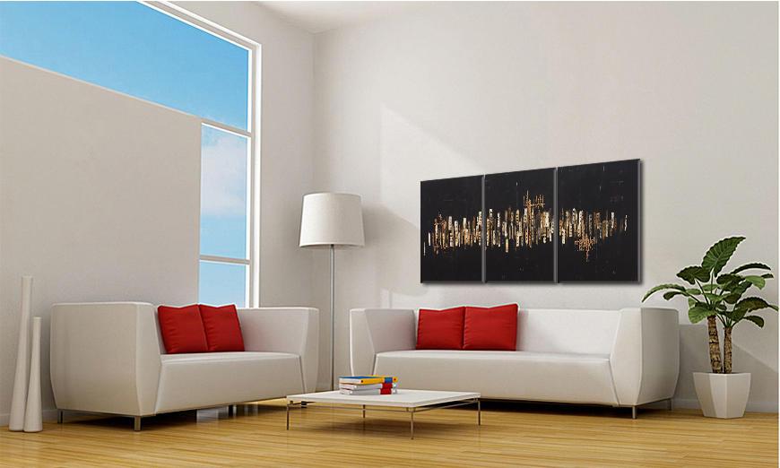 Quadro da soggiorno Golden Nights 180x80cm