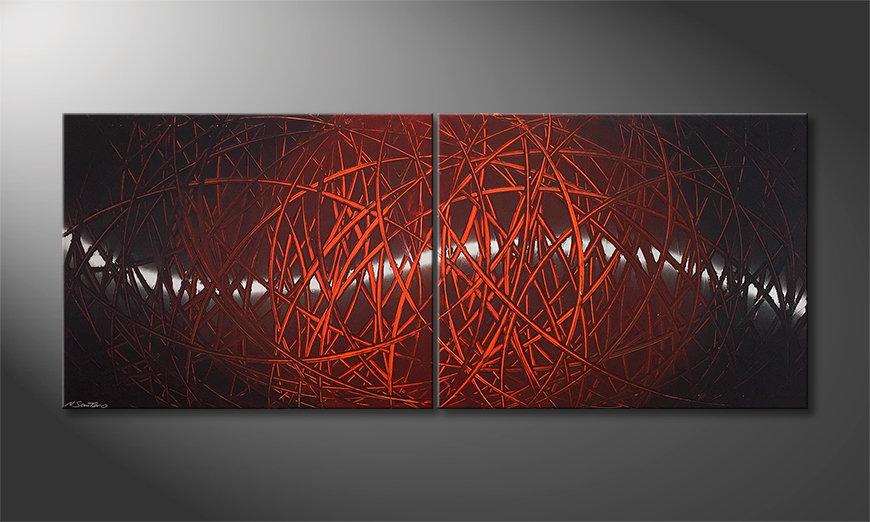 Quadro da soggiorno Red Push 2.0 200x80x2cm
