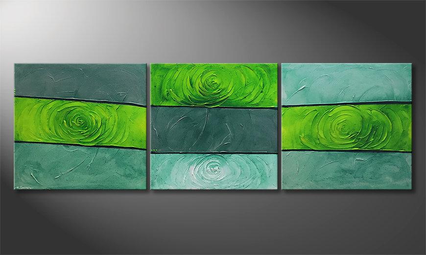 Quadro moderno Green Roses 225x75x2cm